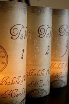 Alice in Wonderland Inspired Table Number Luminarias - Steampunk - Clocks  - Fun & Unique. $3.25, via Etsy.