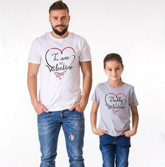 Daddy is my Valentine, I am her Valentine, White/Black, Gray/Black