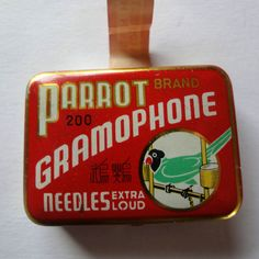 Phonograph Gramophone Needle Vintage Tin Parrot Needles includes some needles