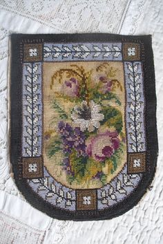 Antique Victorian beaded Berlin woolwork embroidery, beadwork embroidered panel | eBay Vintage Cross Stitches, Beaded Purses, Antique Prints, Beadwork, Needlepoint, Needlework, Bohemian Rug, Berlin, Victorian