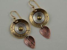 Metal Dangle Earrings - Mixed Metal Artisan Jewelry  - Bohemian Earrings