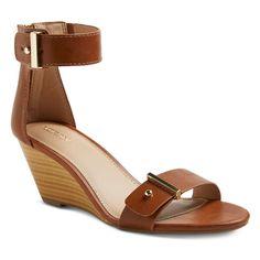 Women's Indra Quarter Strap Sandals Cognac (Red) 6.5 - Merona