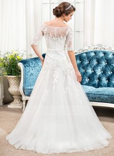 A-Line/Princess Off-the-Shoulder Sweep Train Tulle Lace Wedding Dress With Bow(s) (002054351)