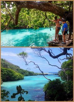 Take a 5 minute drive North from the Villa and hello Blue Lagoon Eton, Vanuatu. Leap off the rope swing, swim out to the ocean; Rope Swing, Travel Things, Top Destinations, Vanuatu, Blue Lagoon, Fun Time, Good Times, Places Ive Been, Islands