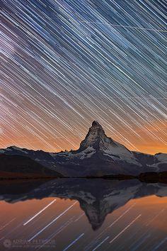 Star Trails, Switzerland, Mountains, Landscape, Stars, Nature, Travel, Scenery, Naturaleza