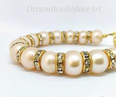 US$22.50 Cream pearl bracelet Gold color pearl Simple pearl jewelry #christmas #pearl #bracelet #jewelry