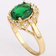 Gold Plated Green Emerald Gem Stone Princess Cut Engagement Ring Size 7/8 #newlook #Newfashion