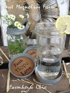 """Canning Jar Coasters """"Faith Hope Love"""" Wide Mouth Lid Mason Kerr Ball Farmhouse Country Cottage Shabby Chic Wedding Supplies Drink Table"""