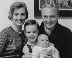 Shirley Jones and her first husband Jack Cassidy, pose with son Shaun and baby Patrick, 1962