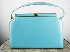 VINTAGE 1960's Powder Blue Leather or Vinyl Footed Jackie O Purse Handbag