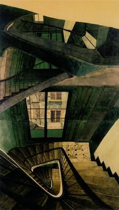 kirgiakos:  viapoboh:  Escalier 54 rue de Seine, 1990, Sam Szafran. French, born in 1934.