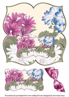 Daisies Birthday Wishes 8in Large Blooms Fancy Topper on Craftsuprint - Add To Basket!