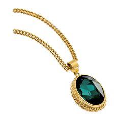 Gargantilla dorada con piedra verde esmeralda #modamujer #modafemenina