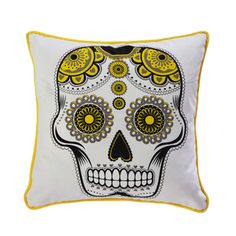 Sugar Skull 18x18 Black Yellow    Room Service  Cushy Pillows Coveted By The Stars    Style savvy husband-and-wife team John and Taryn Bernard are all about living well—so much so that their LA-made home accents are a favorite among celebrities. Designed with a little glam and a hint of retro, these throw pillows are original enough to entice the A-Listers, yet affordable enough for the rest of us.