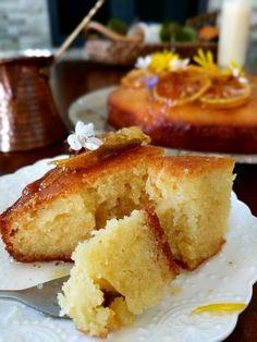 Olive Oil Semolina Cake with Rosewater and Lemon Syrup - olivesandfeta Healthy Desserts, Just Desserts, Delicious Desserts, Yummy Food, Lemon Desserts, Healthy Recipes, Arabic Dessert, Arabic Sweets, Arabic Food