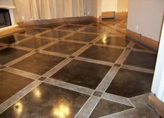 concrete flooring Painted concrete floors look spectacular. Use concrete floor paint, prepare your surface amp; add a design. Paint, Stain or dye. Videos and tutorial here. Floor Stain, Flooring, Painted Floors, Concrete Basement Floors, Painting Basement Floors, Patterned Floor Tiles, Basement Flooring, Diy Flooring, Painted Cement Floors