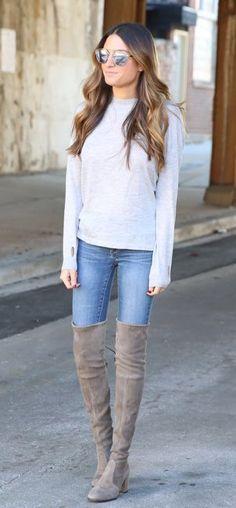 White Knit / Bleached Skinny Jeans / Grey Velvet Boots
