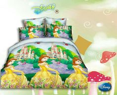 Fairy Princesses in their castle garden Bed Sheet Kids cartoon glace cotton bedsheet