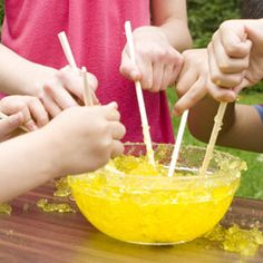 My Cubs loved this at our penny carnival spring recruitment event... it's outside, messy, and we challenged them with shallow, medium, and deep depth bowls. It was easily the hit of the year!