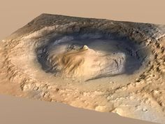 NASA - Oblique View of Gale Crater, Mars, with Vertical Exaggeration