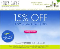 Cool Off From The Summer Heat with 15% Off ANY Product!  Use Code: SONYACOOL only at www.sonyadakarskinclinic.com