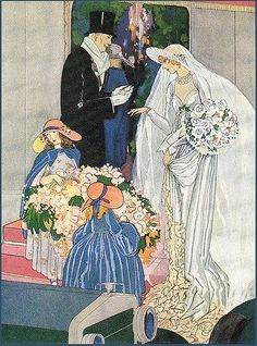 Art Deco Bride and Groom Art Deco Illustration, Vintage Illustrations, Art Nouveau, Vintage Bridal, Vintage Weddings, Vintage Hats, Gif Animé, Fashion Plates, Vintage Beauty