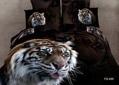 tiger animal design reactive printing luxury bedding set duvet / bedding cover from Reliable duvet cover 3d Bedding Sets, King Size Bedding Sets, Bedding Sets Online, Luxury Bedding Sets, Comforter Sets, Duvet Bedding, Leopard Print Bedding, Animal Print Bedding, Bed Sheets Online