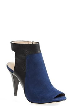 Louise et Cie 'Sabal' Open Toe Slingback Bootie suede/leather blue/black; leather black 3.5h (138.95) NA 10/15
