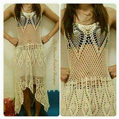 Esse vestido Crochet pode ser usado em vários eventos.  até mesmo casamento.  mande medidas de busto, cintura, quadris e sua estatura.  Se veste P M ou G.  By Mariza Queiroz