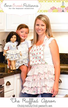 Sew Sweet Patterns Ruffled Apron Pattern for mom girl and doll! So cute!