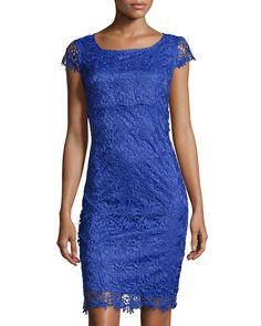 Marina Floral-Lace Cap-Sleeve Dress, Blue