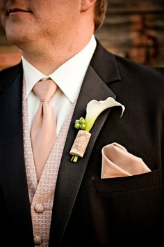 Unique and fun Wine Cork and lily boutonniere Zest Floral Design - Located in Portland, Oregon Boutonnieres, Wedding Boutonniere, Indoor Wedding, Our Wedding, Dream Wedding, Wedding Ideas, Wedding Coordinator, Wedding Planner, Beige