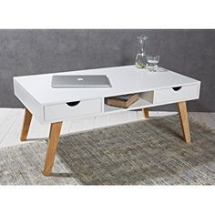 Couchtisch 110 X 60 X 45 Cm Weiß Mit Massivholzbeinen Im Skandinavischen  Retro Design