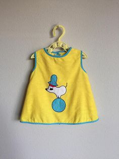 fbed86267ba Vintage 1960s Baby Dress Set   60s 70s Infant Baby Girl Novelty Mouse Seal  Circus Print Yellow Blue Cotton Set 6 9 12 Months