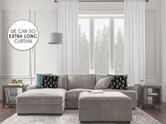 Solid White Color Extra Long Living Room Curtains, Bedroom Curtains, Window Curtains - 104*276