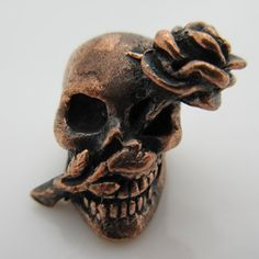 Skull & Rose Paracord Bead in Copper by Lion ARMory