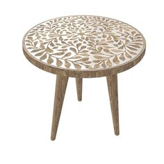 The Curated Nomad Round Boho-Inspired Side Table - Overstock - 33133979 - Leaves Motif Round Side Table, End Tables, Painted Table Tops, Hand Painted, Leaf Table, Wood Design, Unique Colors, Solid Wood, Mango
