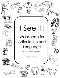 I See It! Worksheets for articulation and language therapy print b&w.  Can play with an I Spy format or say and color.  Pages designed with less visual distraction for younger/visually impaired kiddos.  Covers K, G, F, V and L (freebie for TH).  Send home to color for additional practice.