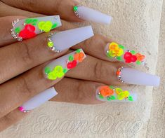 50 Beautiful Nail Art Designs & Ideas Nails have for long been a vital measurement of beauty and Neon Nails, Bling Nails, 3d Nails, Coffin Nails, Best Acrylic Nails, Acrylic Nail Designs, Nail Art Designs, Nails Design, Gorgeous Nails