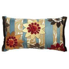 Oblong Teal Print Pillow