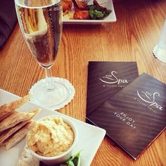 REPOST  Our client enjoying her spa lunch in our Bistro with a glass of fizz! What sounds better?