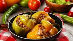 Stuffed Peppers, Vegetables, Food, Red Peppers, Stuffed Pepper, Essen, Vegetable Recipes, Meals, Yemek