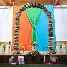 A wedding arch made out of books - ideal for a couple who love reading #creative