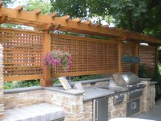 Pergolas Backyard Privacy, Outdoor Pergola, Backyard Landscaping, Outdoor Spaces, Outdoor Living, Landscaping Ideas, Deck Design, Landscape Design, Bbq Hut