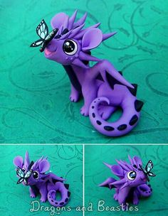 ☆ Polymer Clay Dragon, Polymer Clay Figures, Polymer Clay Animals, Cute Polymer Clay, Cute Clay, Fimo Clay, Polymer Clay Projects, Polymer Clay Charms, Polymer Clay Creations