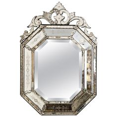 For Sale on - Octagonal Venetian mirror, (circa Topped by elaborate openwork crest. Very good condition with only minor losses to its silvered mirror backing. Mirror Panels, Floor Mirror, Glass Panels, Wall Mirrors, Venetian Glass, Venetian Mirrors, Convex Mirror, Mirror Mirror, French Mirror