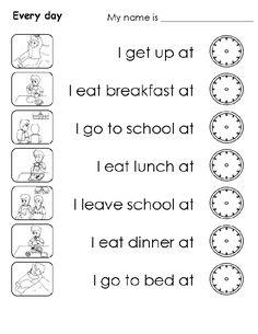 Výsledek obrázku pro daily routines worksheet