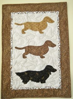 Triple Dachshunds 1  Quilted Dog Wall Hanging  by doodlebugquilts, $48.00
