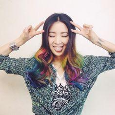 Insta-Stalking: Irene Kim, Model & Unicorn-Haired Goddess #refinery29  http://www.refinery29.com/irene-kim-model-instagram#slide5  The chicest rainbow of all time.