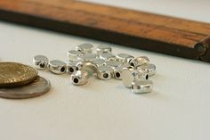 Pewter Convex Oval Bead. Embellishment metal by JadeDogBeads